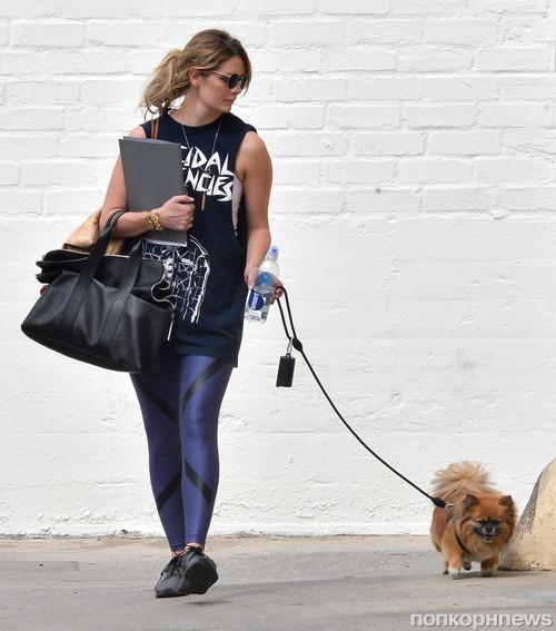 Миша Бартон на прогулке с собакой