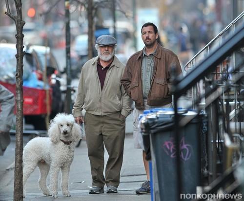 Адам Сэндлер и Дастин Хоффман на съемках нового фильма