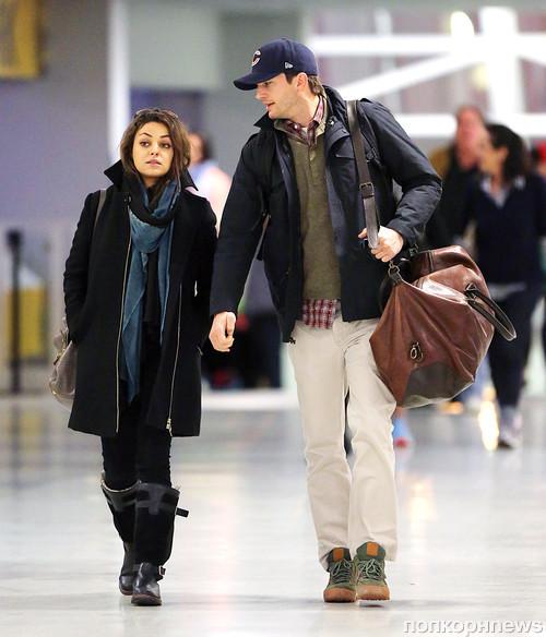 Эштон Кутчер и Мила Кунис прилетели в Нью-Йорк