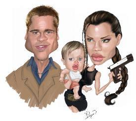 карикатуры на Брэда Питта и Анджелину Джоли