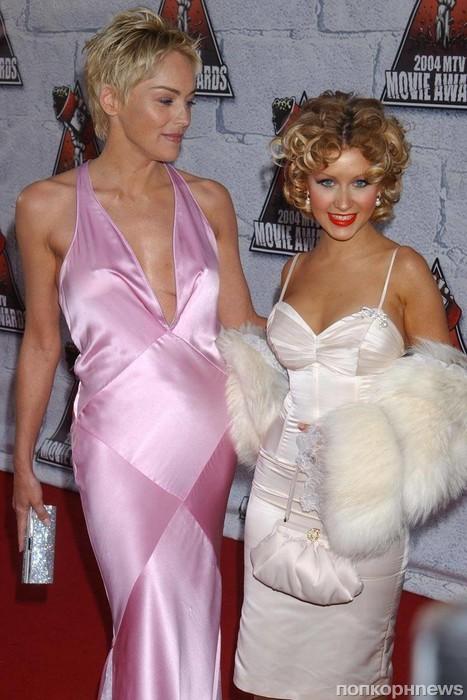 Шэрон Стоун и Кристина Агилера, 2004
