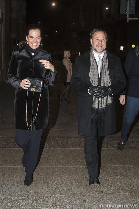 Рассел Кроу на модной вечеринке в Милане
