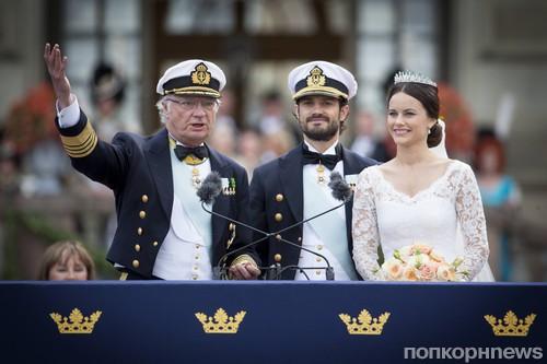 король Карл Густав, принц Карл Филипп и София Хелльквист