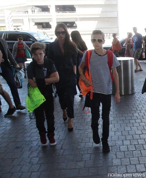 Семейство Бекхэм в полном составе прибыло в Лос-Анджелес