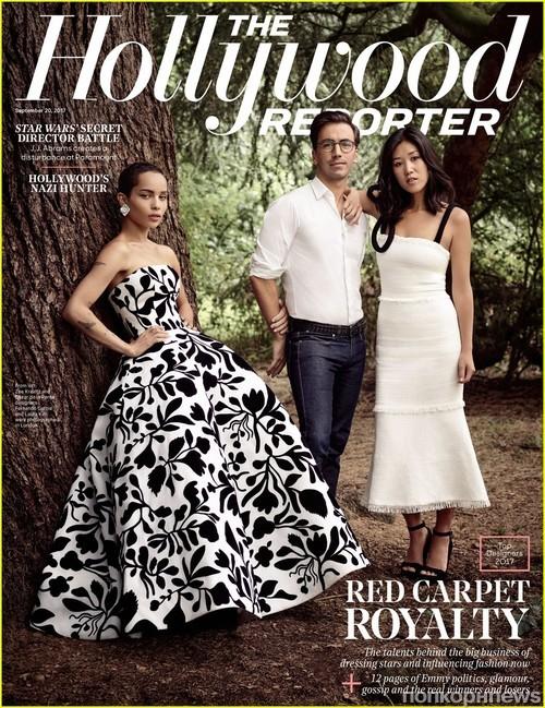 Зои Кравиц с дизайнерами Oscar de la Renta Лаурой Ким и Фернандо Гарсия