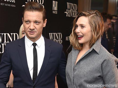 Джереми Реннер и Элизабет Олсен на премьере «Ветреной реки» в Нью-Йорке