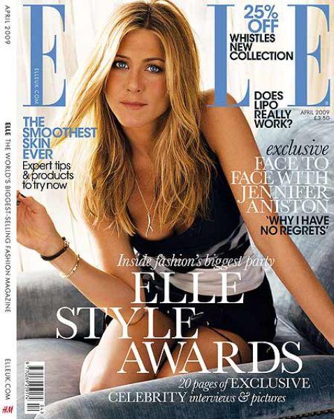 Дженнифер Энистон в журнале Elle UK. Апрель 2009
