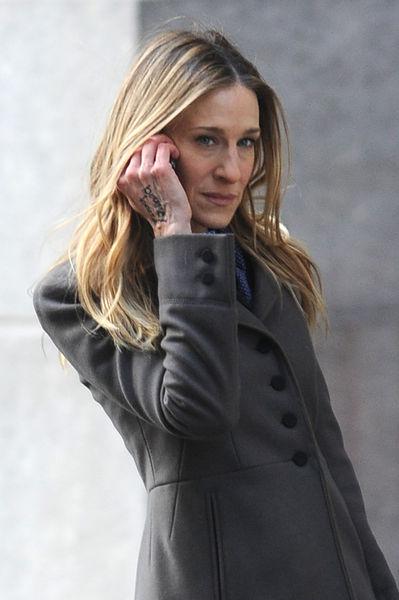 Сара Джессика Паркер на съемках фильма «Я не знаю, как она делает это»