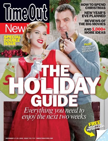 Скарлетт Йоханссон и Лив Шрайбер для журнала Time Out New York . Декабрь 2009
