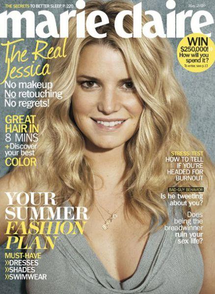 Джессика Симпсон без макияжа в журнале Marie Claire. Май 2010