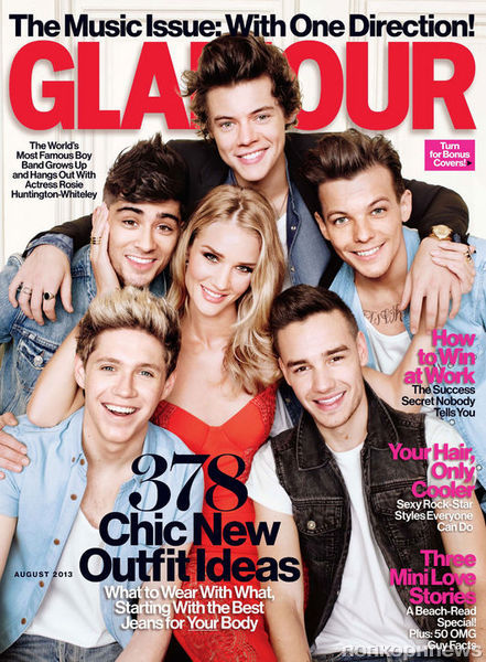 One Direction и Роузи Хантингтон-Уайтли в журнале Glamour. Август 2013