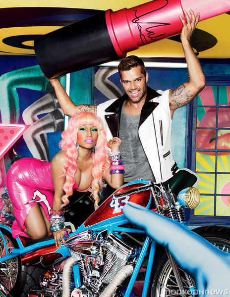 Ники Минаж и Рики Мартин на съемках рекламной кампании M.A.C Viva Glam