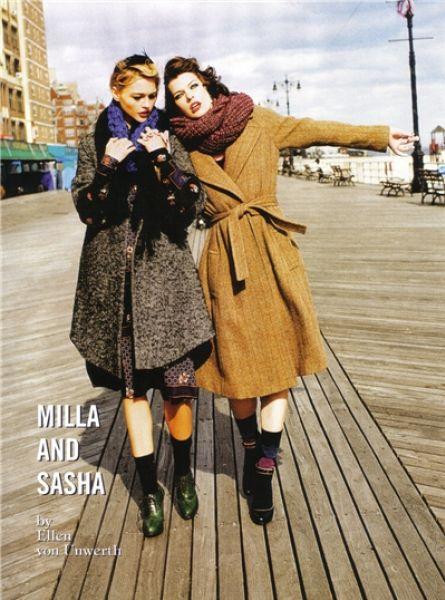 Мила Йовович и Саша Пивоварова в журнале Vogue. Италия. Июль 2009
