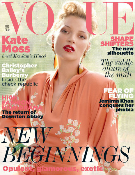 Кейт Мосс на обложке журнала Vogue Великобритания. Август 2011