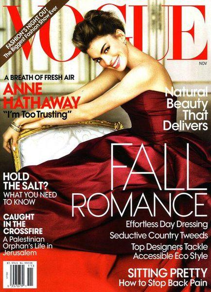 Энн Хэтэуй на обложке Vogue US. Ноябрь 2010