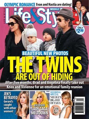 Джоли и Питт показали близнецов, а Батлер дал повод Энистон страдать