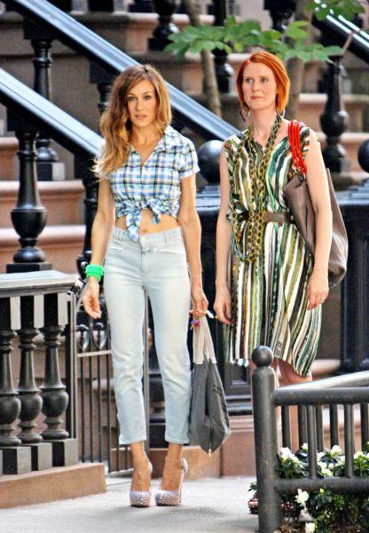 Сара Джессика Паркер и Синтия Никсон на съемках «Секс в большом городе 2»
