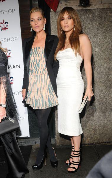 Кейт Мосс и Дженнифер Лопес в Нью-Йорке на открытии магазина Topshop