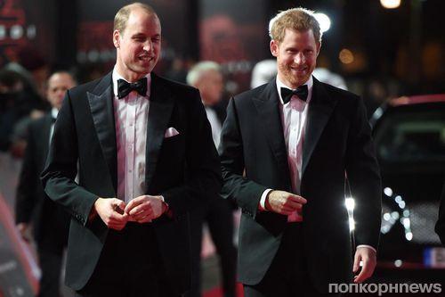 Принцы Уильям и Гарри стали гостями лондонской премьеры «Звездных войн: Последние джедаи»