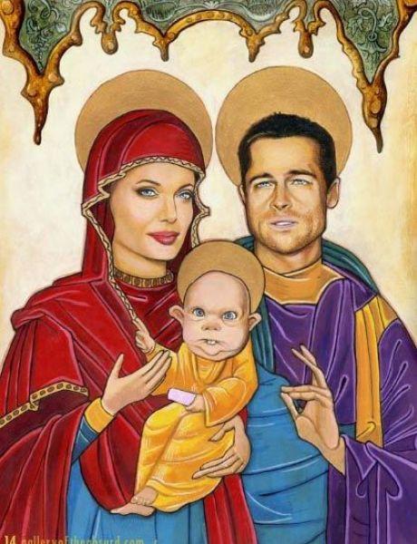 Различные карикатуры на Брэда Питта и Анджелину Джоли