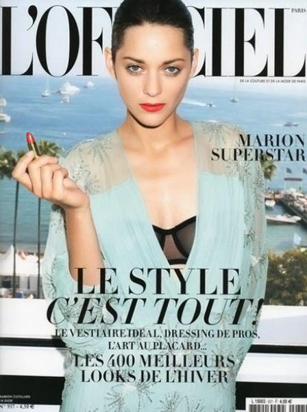 Марион Котийяр в журнале L'Officiel. Август 2009