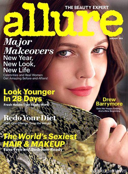 Дрю Бэрримор в журнале Allure. Январь 2013.