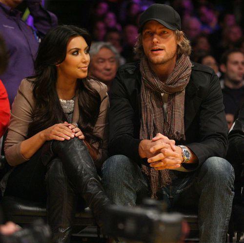 Ким Кардашиан и Габриель Обри на игре LA Lakers