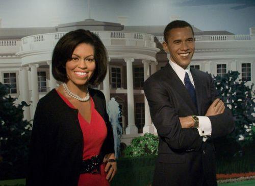 Мишель и Барак Обама в музее Мадам Тюссо