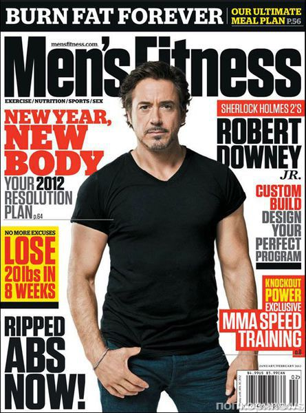 Роберт Дауни младший в журнале Men's Fitness. Январь / февраль 2012