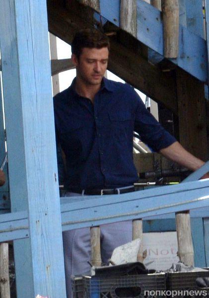 Джастин Тимберлейк на съемках фильма Runner, Runner