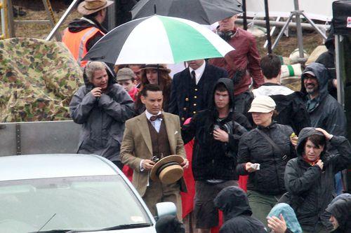 Тоби Магуайр на съемках фильма «Великий Гэтсби»