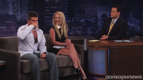 Бритни Спирс и Саймон Коуэлл на шоу Джимми Киммела
