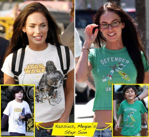 Меган Фокc покупает себе и пасынку одни и те же футболки