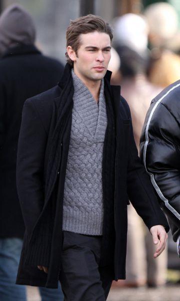 Чейс Кроуфорд и Тэйлор Момсен на съемках сериала Сплетница. Нью-Йорк, 8 января