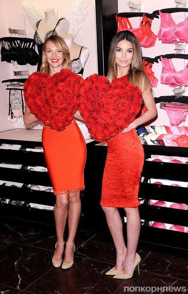 Кэндис Свейнпол и Лили Олдридж на презентации новой коллекции Victoria's Secret в Нью-Йорке