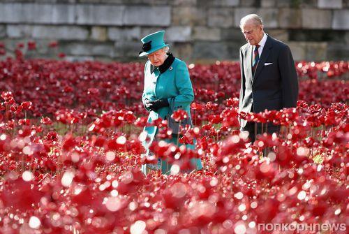 Елизавета II посетила инсталляцию из керамических маков в честь Первой Мировой Войны
