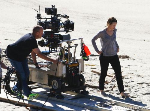 Рэйчел МакАдамс на съемках сериала «Настоящий детектив»
