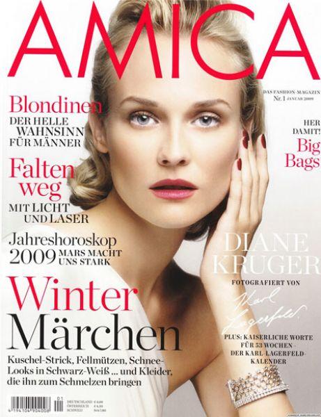 Дайан Крюгер в немецком журнале Amica. Январь 2009