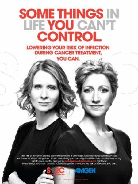 Синтия Никсон и Эди Фалько в рекламе Stand Up To Cancer