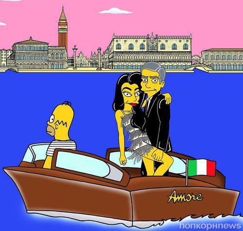 Если бы Джордж Клуни и Амаль Аламуддин справляли свадьбу в Спрингфилде