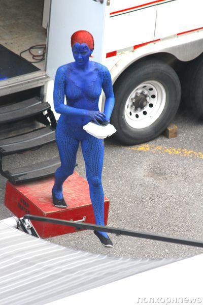 Дженнифер Лоуренс на съемках фильма «Люди Икс: Дни минувшего будущего»