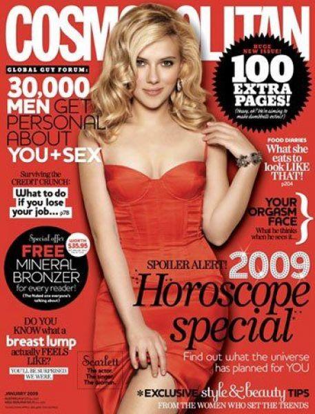Скарлетт Йоханссон на обложке Cosmopolitan. Январь 2009