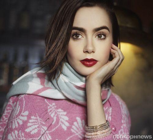 Лили Коллинз в рекланой кампании Barrie Knitwear