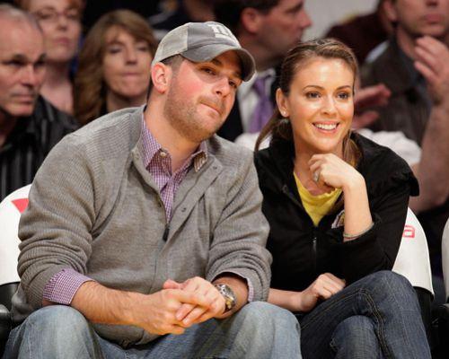 Алисса Милано с мужем на игре Lakers