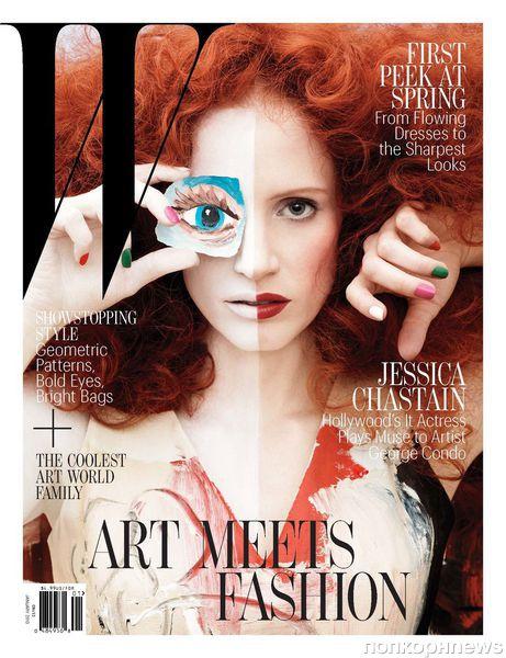 Джессика Честейн на обложке журнала W. Январь 2012