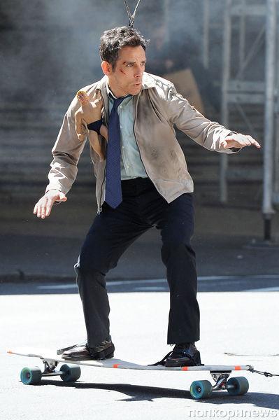 """Бен Стиллер и Адам Скотт на съёмках фильма """"Тайная жизнь Уолтера Митти"""""""