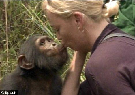 Шарлиз Терон поцеловала обезьянка