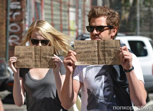 Эмма Стоун и Эндрю Гарфилд решили использовать папарацци в благих целях