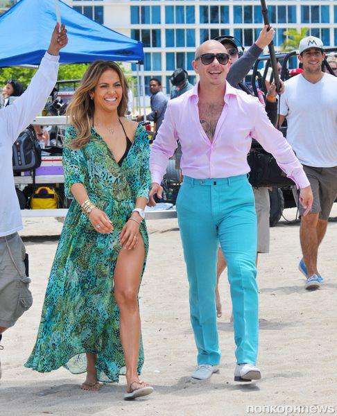 Дженнифер Лопес и Pitbull на съемках нового клипа