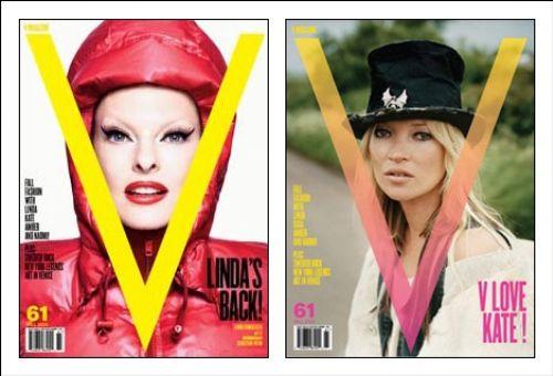 Линда Евангелиста, Кейт Мосс, Lady GaGa  в журнале V